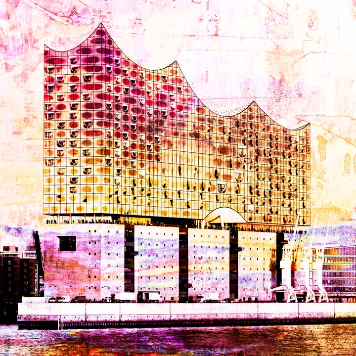 Galerie30 Elbphilharmonie Orange Lila Motiv 1647