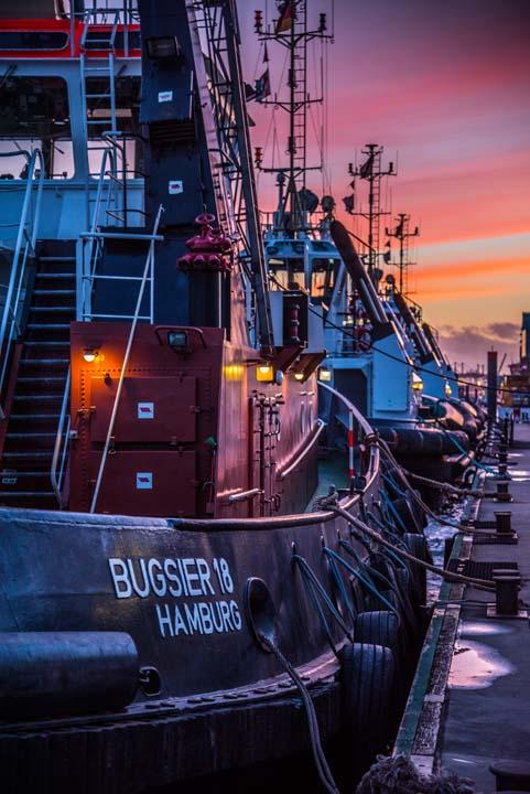 Hafenschlepper Sonnenuntergang Motiv 1630     
